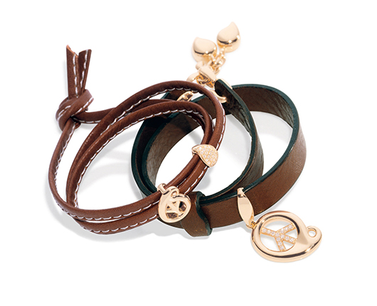 Tamara Comolli leather wrap bracelet with gold charms