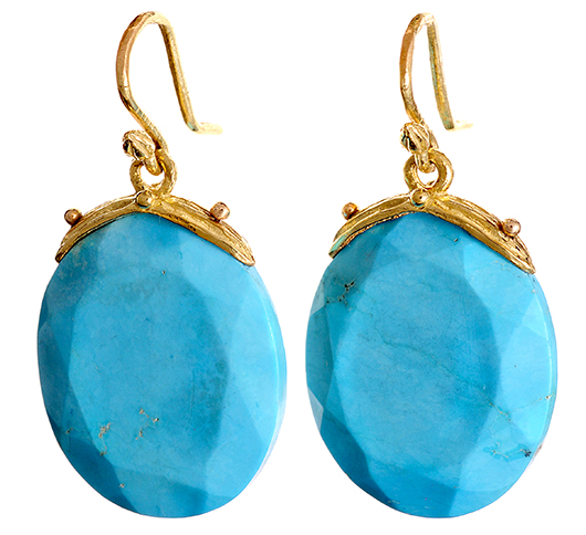 Gabrielle Sanchez earrings in 18k gold with turquoise