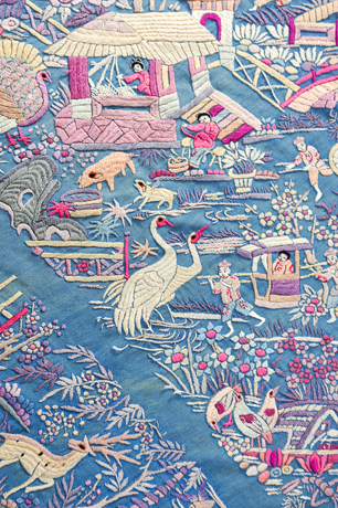 Embroidered shawl with Chinese motifs and herons