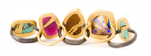 Backsides of New Golden Joinery gemstone rings inspired by Japanese kintsugi by Jamie Joseph