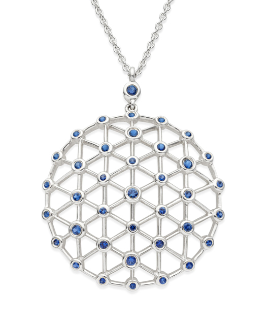 Gossamer pendant necklace in silver with blue sapphires from Swarovski's new fine jewelry collection