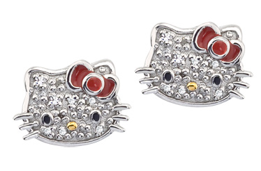 Hello Kitty pave crystal stud earrings