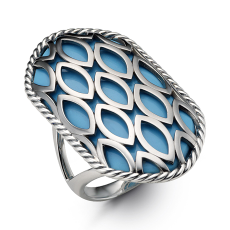 Hera ring in silver with turquoise