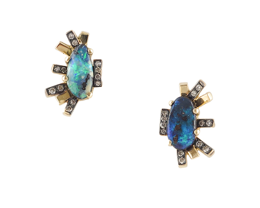 Earrings in 14k gold with opal and diamonds by Harika