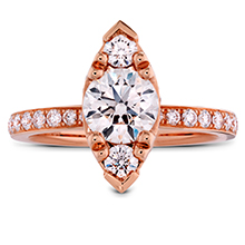 Hearts On Fire engagement ring in rose gold