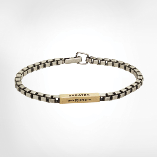 Men's Box chain bracelet in silver and 18k gold by Heather Moore