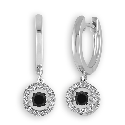 IDD Dazzling Diamonds earrings with black and colorless diamonds