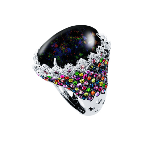 Aspire Designs onyx, diamond, gold, and gemstone ring