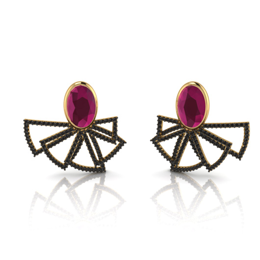 Deco earrings in 18k gold with rubies and black diamonds by Paixão Joias