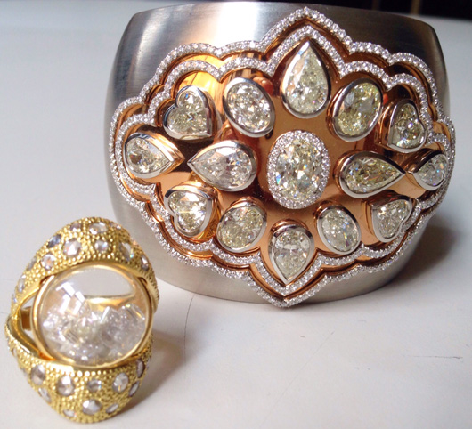 Cuff with diamonds by William Goldberg and ring with diamonds by Moritz Glik