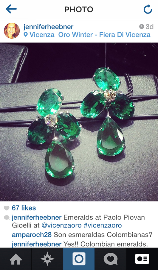 Emerald drop earrings from Paolo Piovan Gioelli at the VicenzaOro show