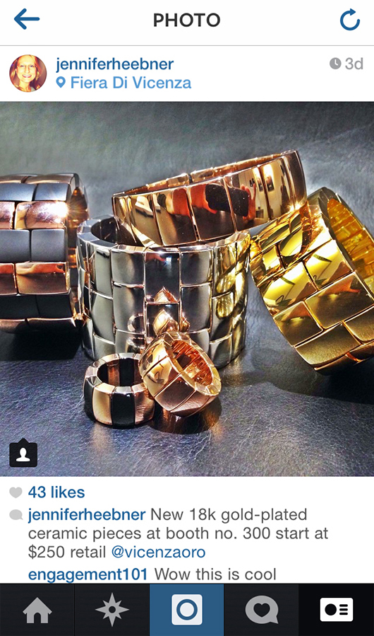 Gold-plated ceramic cuffs from Roberto Demeglio at the VicenzaOro show
