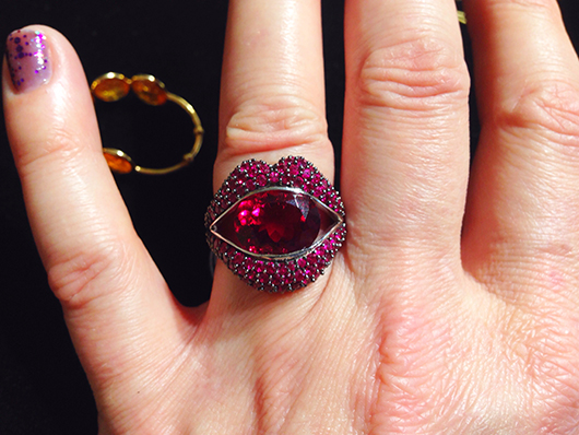 New ruby and rubellite lips ring from Loretta Castoro