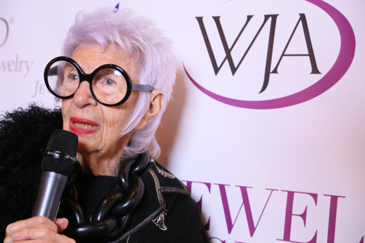 Iris Apfel at last night's Jewelry Night Out held by the Metropolitan Chapter of the Women's Jewelry Association