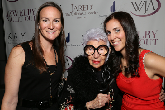 Amanda Gizzi of the Jewelry Information Center and WJA Metro, Iris Apfel, and Danielle Ingwer Cohen of Leo Ingwer and the WJA Metro