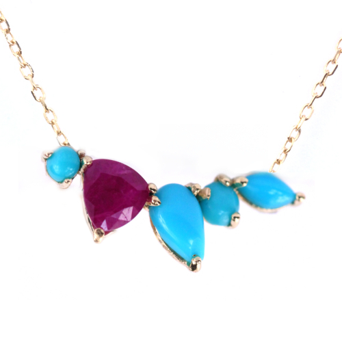 Inez necklace in 14k gold with turquoise and rubies from Katie Diamond