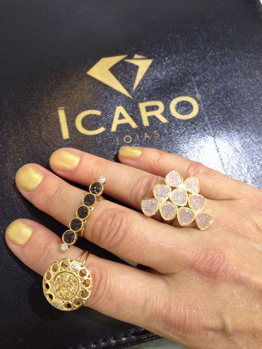 Drusy and 18k gold pieces from Icaro