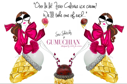A custom Sew Sketchy illustration for Gumuchian, displayed in its booth at the Couture show this year