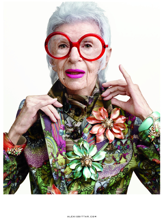 Iris Apfel in a new ad for Alexis Bittar