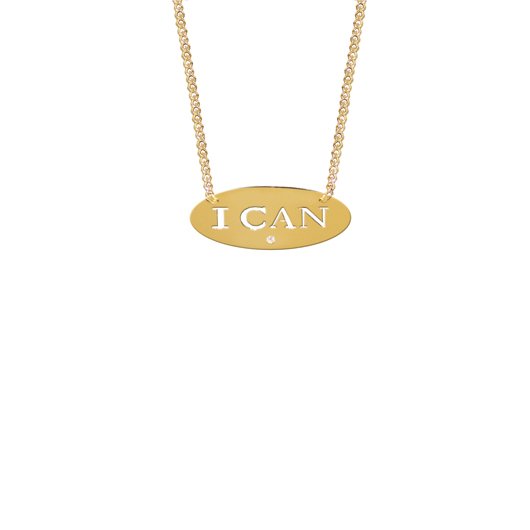 I Can necklace in 22k gold-plated silver with a diamond accents, $175, from Jane Basch