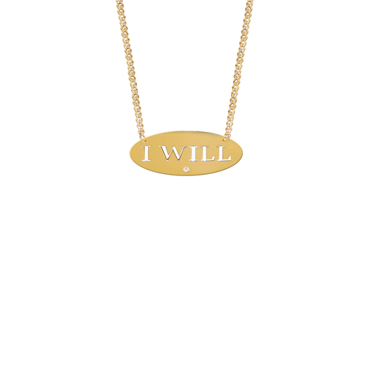 I Will necklace in 22k gold-plated silver with a diamond accents, $187, from Jane Basch