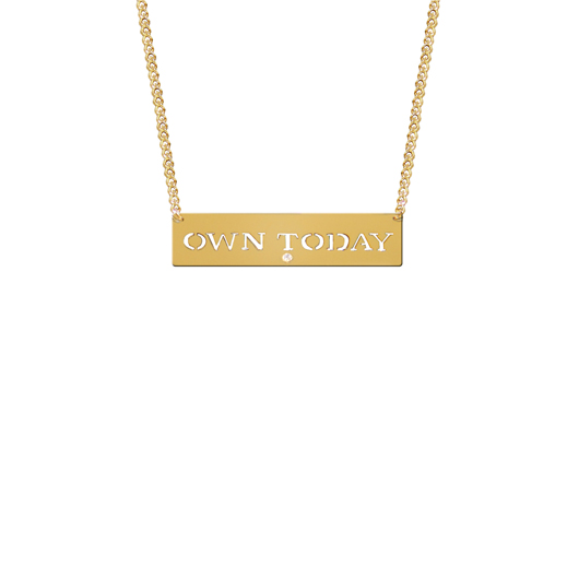 Own Today necklace in 22k gold-plated silver with a diamond accents, $175, from Jane Basch