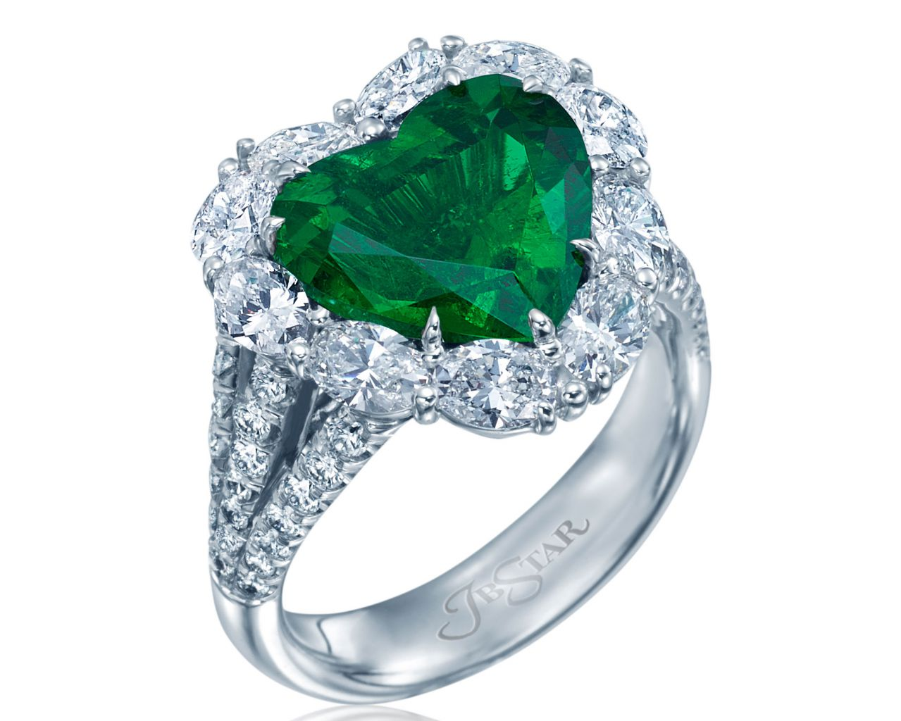 JB Star emerald heart-shape ring with diamonds