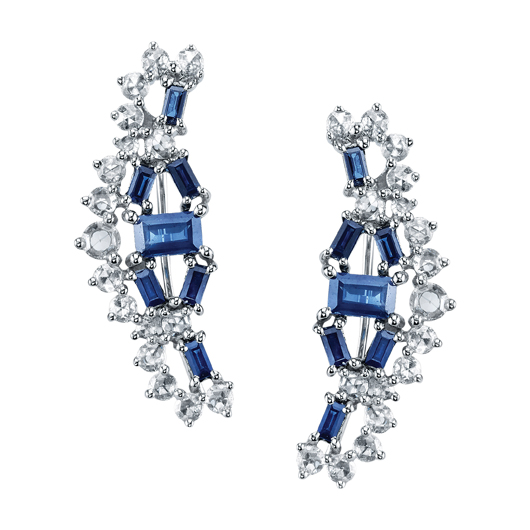 Patricia ear cuffs in 18k white gold with 1.58 cts. t.w. blue sapphire baguettes and 0.87 ct. t.w. rose-cut diamonds; $5,590; Borgioni at Fragments, NYC; 212-226-8878; fragments.com