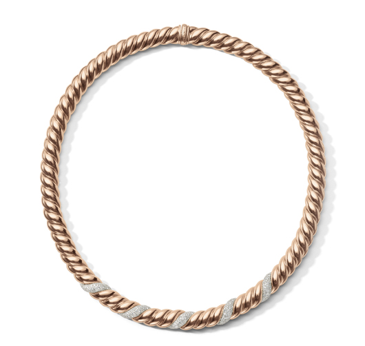 Hampton Cable necklace with diamonds in 18k rose gold; $18,500; David Yurman, NYC; 212-752-4255; davidyurman.com