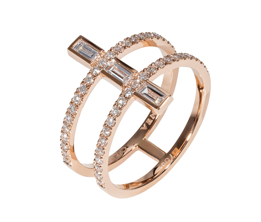 Linee Misteriose mini ring in 18k rose gold with 0.41 ct. t.w. baguette- and round-shape diamonds; $3,150; Dionea Orcini Fine Jewelry, Miami Beach, Fla.; 305-982-8227; dioneaorcini.com
