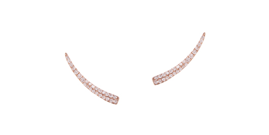 Tiny diamond ear cuffs in 18k rose gold with 0.25 ct. t.w. white diamonds; $590; Graziela Gems, Highland Park, Ill.; 773-619-3999; grazielagems.com