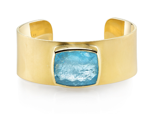 18k yellow gold limited-edition cuff with 23 ct. fine aquamarine; price on request; Irene Neuwirth, Venice, Calif.; 310-450-6063; ireneneuwirth.com