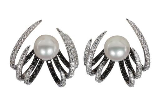 Akoya pearl earrings with 0.53 ct. t.w. black diamonds and 1.02 cts. t.w. white diamonds in 18k white gold; $8,030; Kavant and Sharart at Fragments, NYC; 212-226-8878; fragments.com