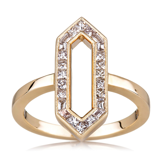18k yellow gold princess-cut diamond hexagon ring; $2,820; Sethi Couture, San Francisco; 415-255-4768; sethicouture.com