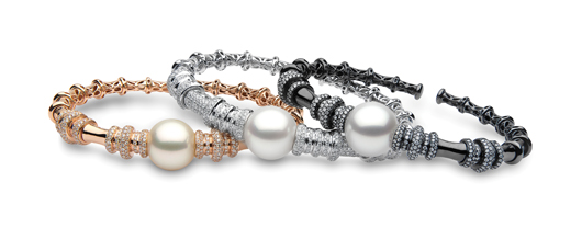 18k rose, white, and black gold bracelets with 13 mm–14 mm South Sea pearls and 1.48–1.57 cts. t.w. diamonds; $11,000–$12,000; Yoko London, London; 44-207-025-0700; yokolondon.com