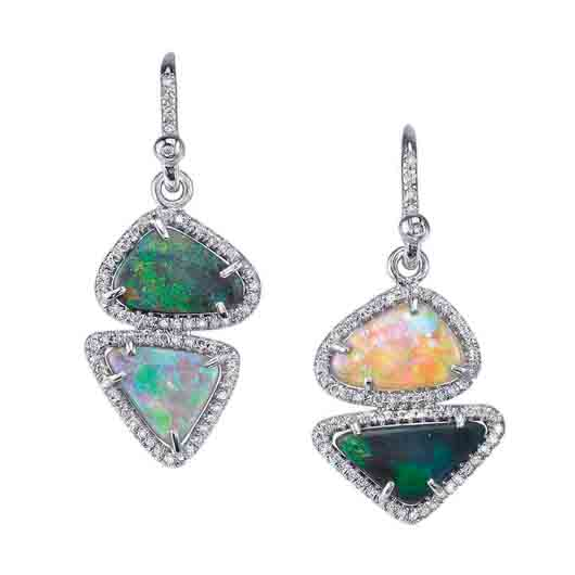 18k white gold earrings with 4.64 cts. t.w. Lightning Ridge opals and 0.4 ct. t.w. diamond pavé; $7,330