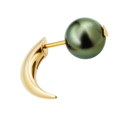 Stabbed Pearl earring in 18k rose gold with Tahitian pearl; $1,350 (sold singly); Hannah Martin, London; 44-20-3302-1964; hannahmartinlondon.com