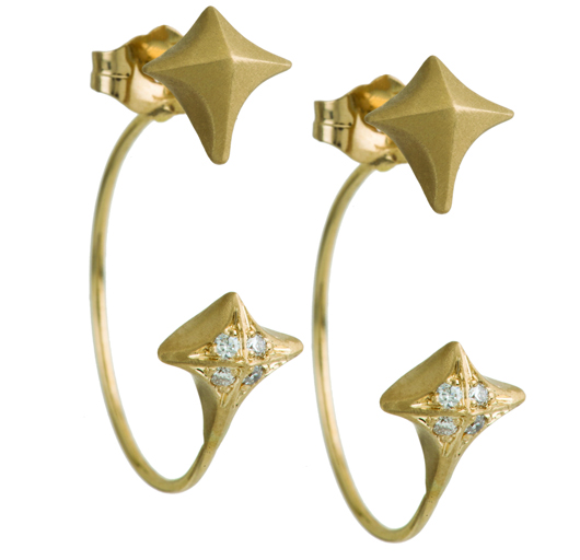 Estrella backward hoops in 14k gold with diamonds; $1,700; Michelle Fantaci at MUSE, NYC; 212-463-7950; michellefantaci.com