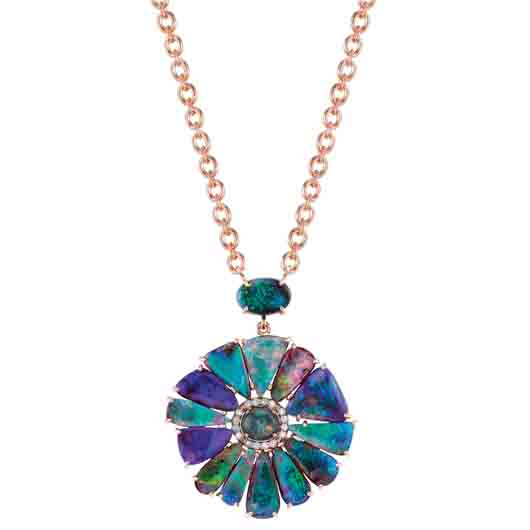 18k rose gold pendant necklace with 18.06 cts. t.w. boulder opals, 4.88 cts. t.w. Lightning Ridge opals, and 0.2 ct. t.w. diamond pavé; $22,500