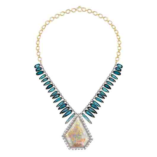 18k white and yellow gold necklace with 59.79 ct. opal, 36.14 cts. t.w. indicolite, 5.16 cts. t.w. rose-cut diamonds, and 0.48 ct. t.w. diamond pavé; price on request