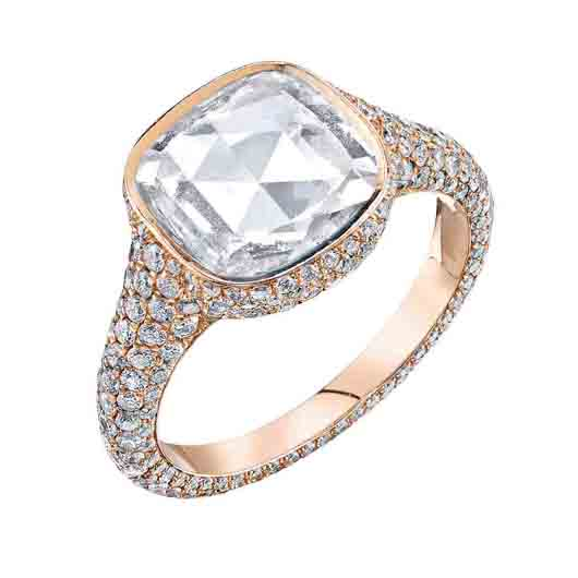 18k rose gold ring with 2.24 ct. rose-cut diamond and 1.39 cts. t.w. diamond pavé; price on request