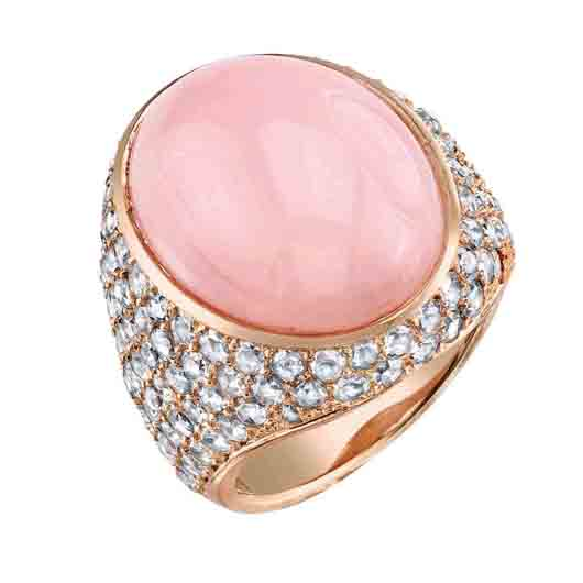 18k rose gold ring with pink opal and rose-cut diamonds; $19,760