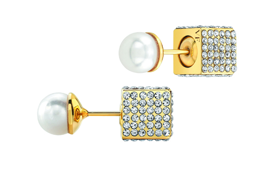 NeDouble Cubo pearl earring in 24k gold-plated brass with clear pavé Swarovski crystals and Japanese akoya pearls; $775; Vita Fede at Fragments, NYC; 212-226-8878; vitafede.com