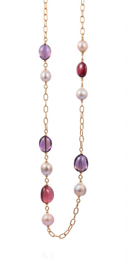 Necklace in 18k rose gold with amethysts, rubellite, and pink pearls from Goshwara