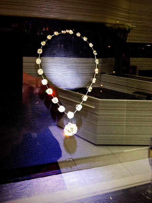 Jewelry in the store window of Jacob and Co. in Manhattan