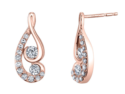 Earrings in 14k gold with diamonds from Proud Mom by Juno Lucina–Jaime King Designs