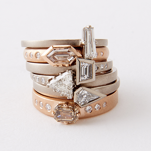 One-of-a-kind stacking rings with diamonds from Jamie Joseph