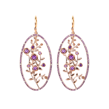 Jane Taylor Rosebud earrings in pink gold with lavender amethyst and diamonds
