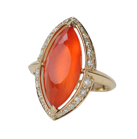 Jane Taylor ring in 14k gold with carnelian and white quartz doublet