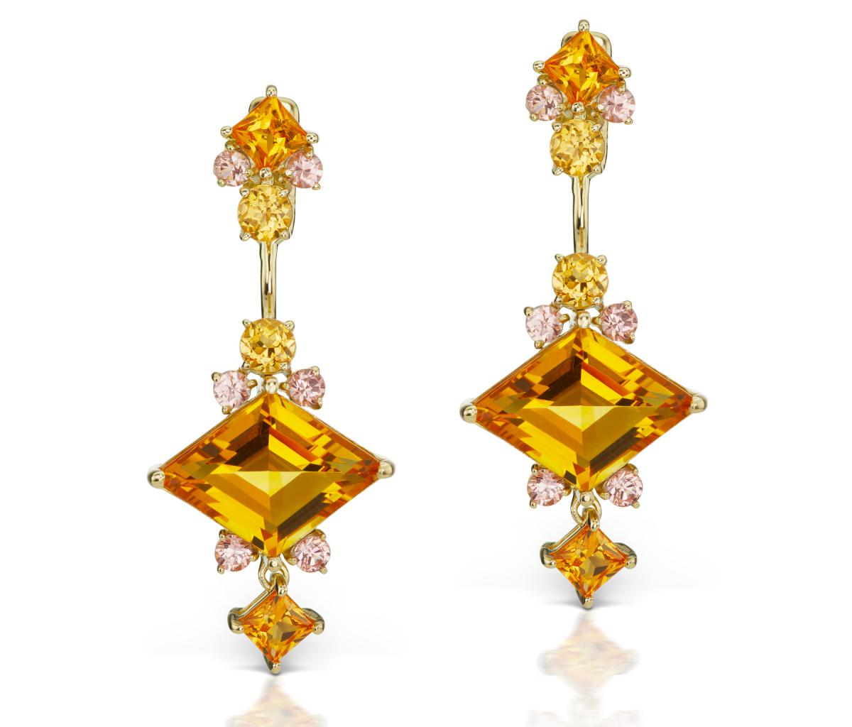 Jane Taylor citrine earring studs and jackets